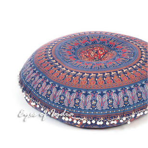 "32"" Bohemian Indian Floor Meditation Pillow Cover boho dog bed Round Colorful Decorative Mandala Hippie Cushion Seating Sofa Throw"