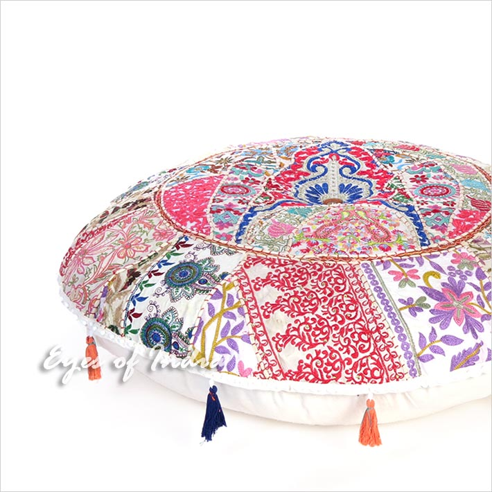 Big White Patchwork Boho Decorative Bohemian Round Colorful Floor Pillow Cushion Seating Cover - 40""