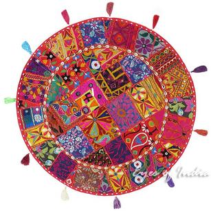 Burgundy Boho Red Round Colorful Floor Pillow Meditation Cushion Throw Cover Patchwork Seating - 32""