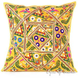 Yellow Patchwork Colorful Throw Couch Pillow Cushion Sofa Bohemian Boho Cover - 24""