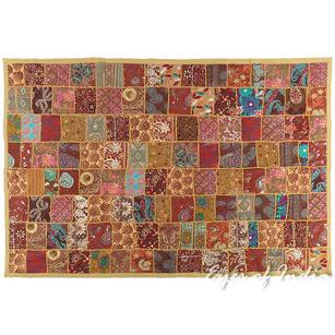 Brown Embroidered Decorative Bohemian Boho Wall Hanging Tapestry - 40 X 60""