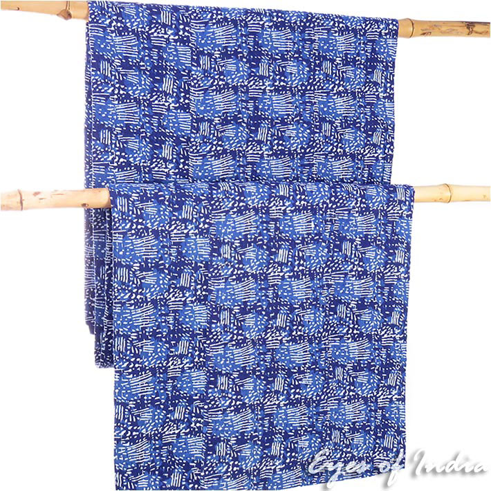 Indigo Blue Decorative Kantha Bohemian Boho Bedspread Tapestry Quilt Throw