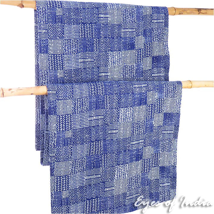 Indigo Blue Decorative Kantha Bedspread Boho Bohemian Tapestry Quilt Throw
