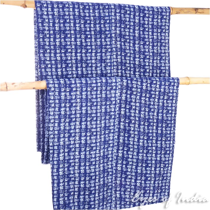 Indigo Blue Decorative Bohemian Boho Kantha Bedspread Tapestry Quilt Throw