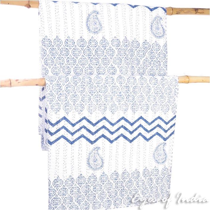 Indigo Blue Decorative Quilt Kantha Tapestry Throw Bedspread Bohemian Accent Boho Chic Indian Handmade