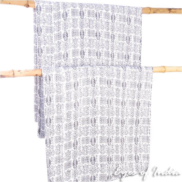 White Black Decorative Boho Bohemian Throw Tapestry Bedspread Kantha Quilt