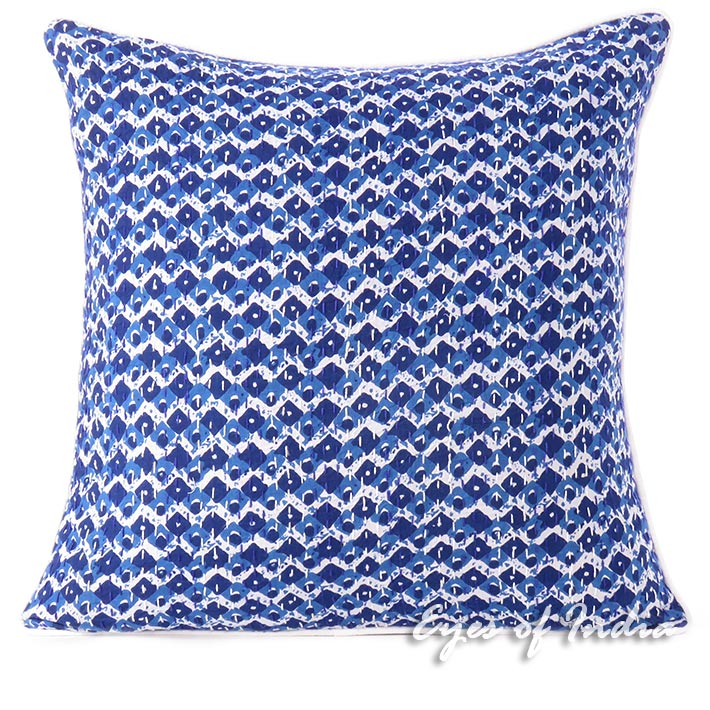 Indigo Blue Kantha Decorative Throw Sofa Cushion Boho Bohemian Pillow Cover - 16""