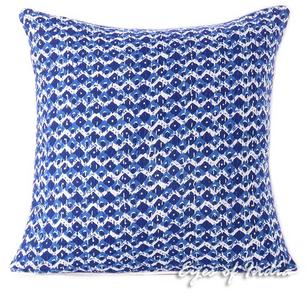Indigo Blue Kantha Colorful Decorative Throw Sofa Cushion Boho Bohemian Couch Pillow Cover - 16""