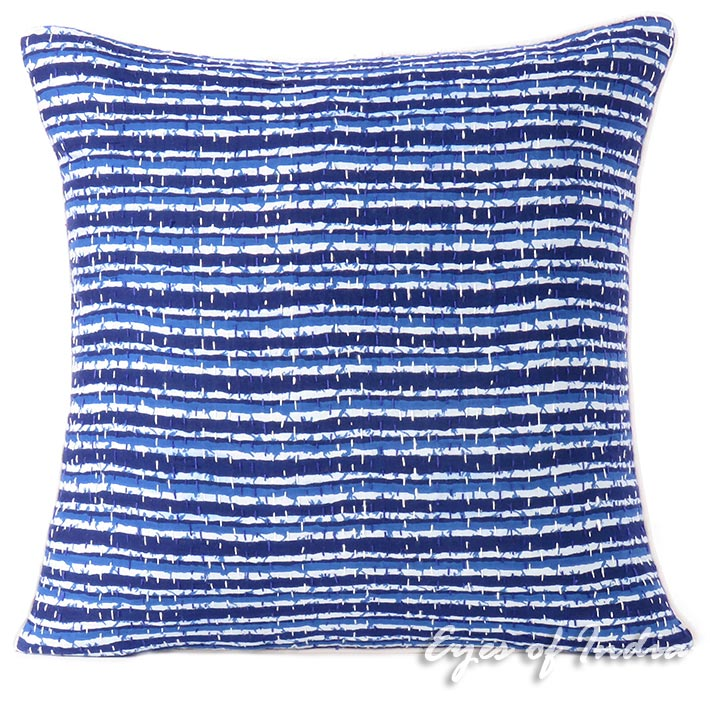 "Blue Indigo Kantha Boho Bohemian Decorative Throw Sofa Cushion Pillow Cover - 16"""