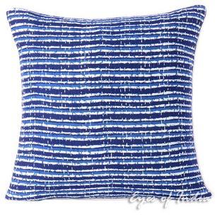 "Blue Indigo Kantha Boho Bohemian Colorful Decorative Throw Sofa Cushion Couch Pillow Cover - 16"""