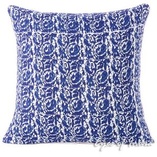 Blue Indigo Kantha Colorful Throw Sofa Cushion Bohemian Boho Couch Pillow Cover - 16""