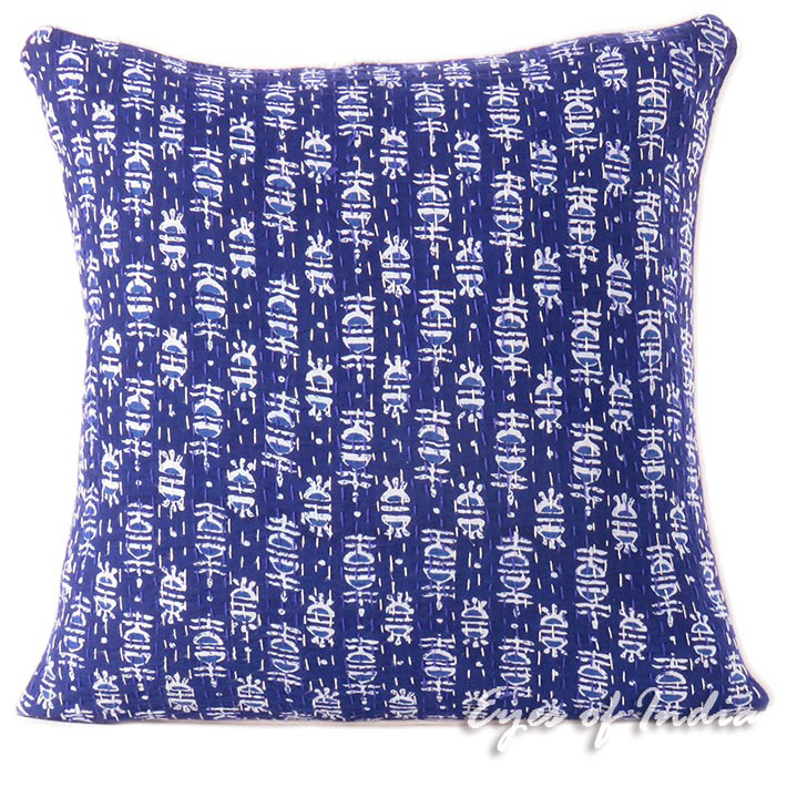 Blue Indigo Boho Bohemian Kantha Decorative Throw Sofa Cushion Pillow Cover - 16""