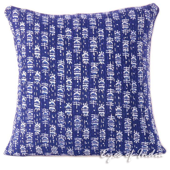 "Blue Indigo Boho Bohemian Kantha Colorful Decorative Throw Sofa Cushion Couch Pillow Cover - 16"""