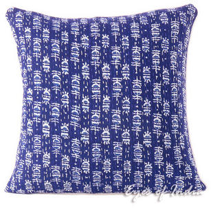 Blue Indigo Boho Bohemian Kantha Colorful Decorative Throw Sofa Cushion Couch Pillow Cover - 16""