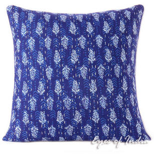 Indigo Blue Kantha Colorful Decorative Boho Bohemian Throw Sofa Cushion Couch Pillow Cover - 16""
