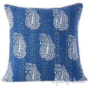 Blue Indigo Kantha Gray Decorative Boho Bohemian Throw Sofa Cushion Pillow Cover - 16""