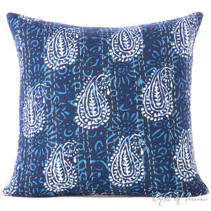 Blue Indigo Kantha Gray Colorful Decorative Boho Bohemian Throw Sofa Cushion Couch Pillow Cover - 16""