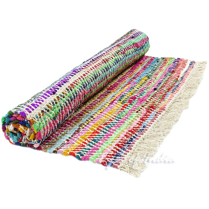 Sentinel 5 X 7 Ft Colorful Chindi Woven Area Rag Multicolor White Rug Floor Mat Bohemian