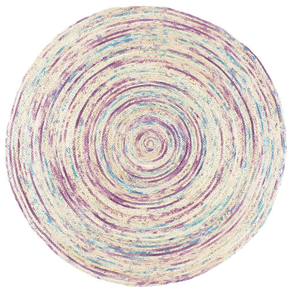 Purple Jute Rug Round