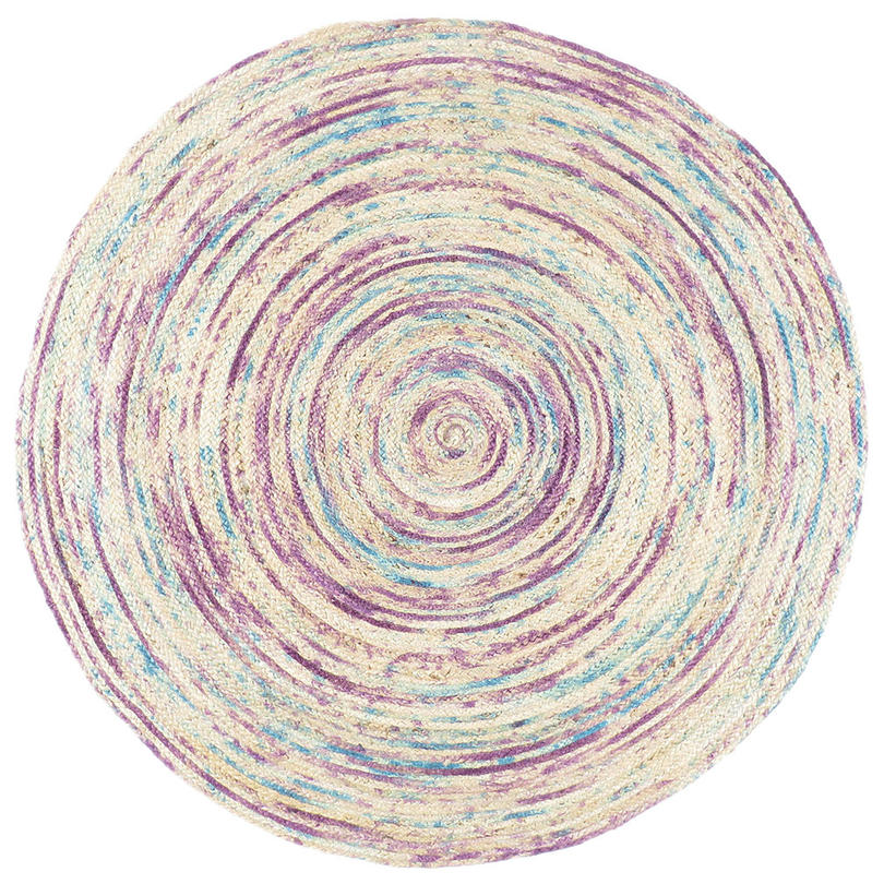 Purple Round Colorful Boho Woven Jute Chindi Braided Area Decorative Rag Rug - 4 ft