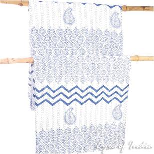 Grey or Indigo Decorative Kantha Bedspread Tapestry Quilt Throw
