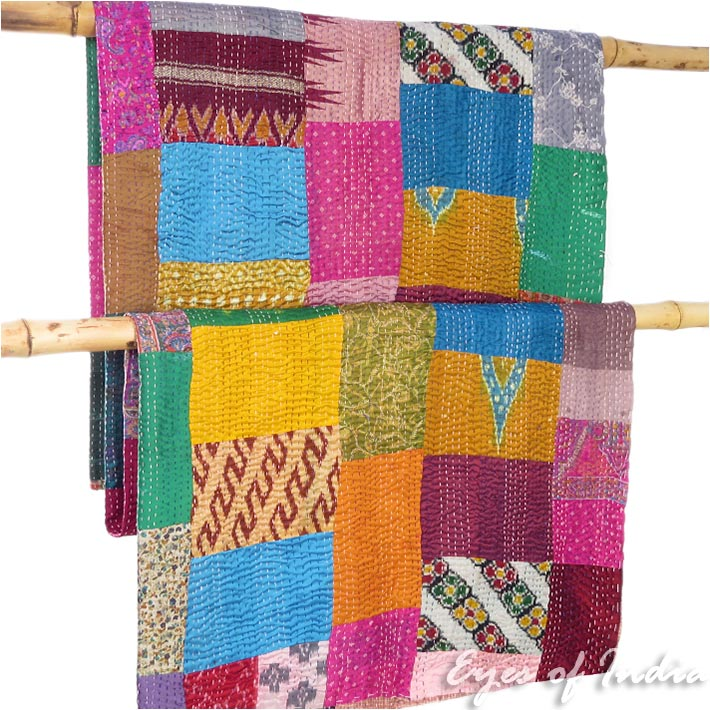 """Colorful Decorative Silk Vintage Kantha Boho Bohemian Quilt Throw Tapestry Bedspread - 60 X 90"""""""