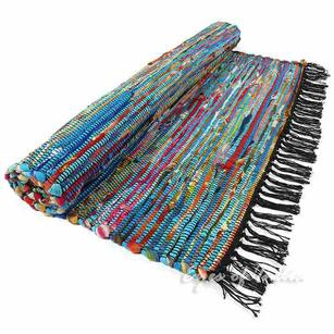 Colorful Blue Woven Decorative Chindi Area Boho Rag Rug - 3 X 5 - 5 X 7 ft