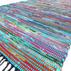 Colorful Blue Woven Decorative Chindi Area Boho Rag Rug - 3 X 5 to 5 X 8 ft 1
