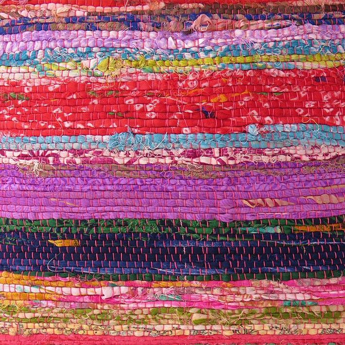 "12"" Purple Chindi Rag Rug Decorative Throw Pillow Cushion"