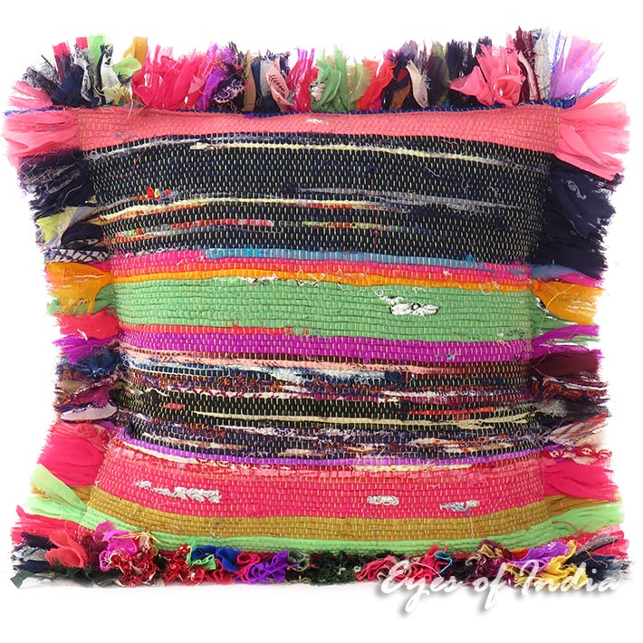 "Colorful Chindi Rag Rug Decorative Bohemian Boho Sofa Pillow Cushion Throw Cover - 12"""