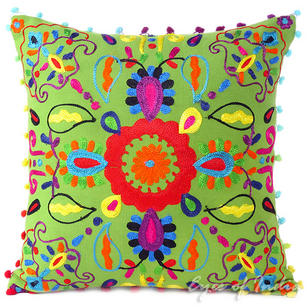 Green Embroidered Decorative Sofa Cushion Bohemian Boho Pillow Throw Cover - 16""