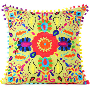 Green Embroidered Colorful Decorative Sofa Cushion Bohemian Boho Couch Pillow Throw Cover - 16""