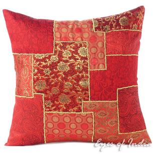 Burgundy Red Silk Brocade Colorful Decorative Sofa Throw Couch Pillow Cushion Boho Cover - 16, 20""