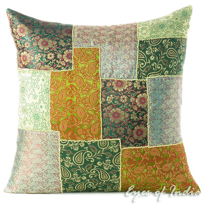 "Green Silk Brocade Decorative Boho Bohemian Throw Couch Pillow Cushion Cover - 16, 20"""