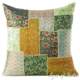 "Green Silk Brocade Colorful Decorative Boho Bohemian Sofa Throw Couch Pillow Cushion Cover - 16, 20"""