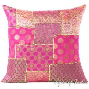 Pink Silk Brocade Colorful Decorative Sofa Throw Couch Pillow Boho Bohemian Cushion Cover - 16, 20""