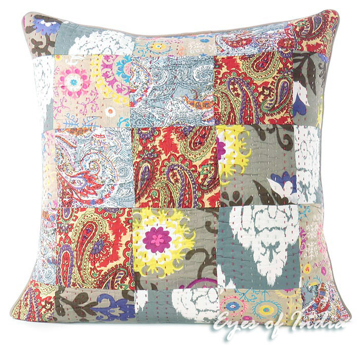 Grey Gray Kantha Decorative Sofa Throw Pillow Bohemian Boho Cushion Cover - 16, 20""
