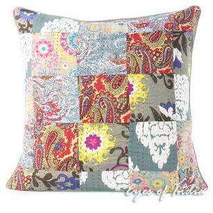Grey Gray Kantha Colorful Decorative Sofa Throw Couch Pillow Bohemian Boho Cushion Cover - 16, 20""