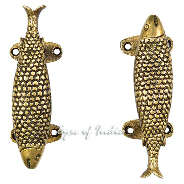 Pair Gold Brass Fish Cabinet Pulls Antique Bronze Door Handles - 6""
