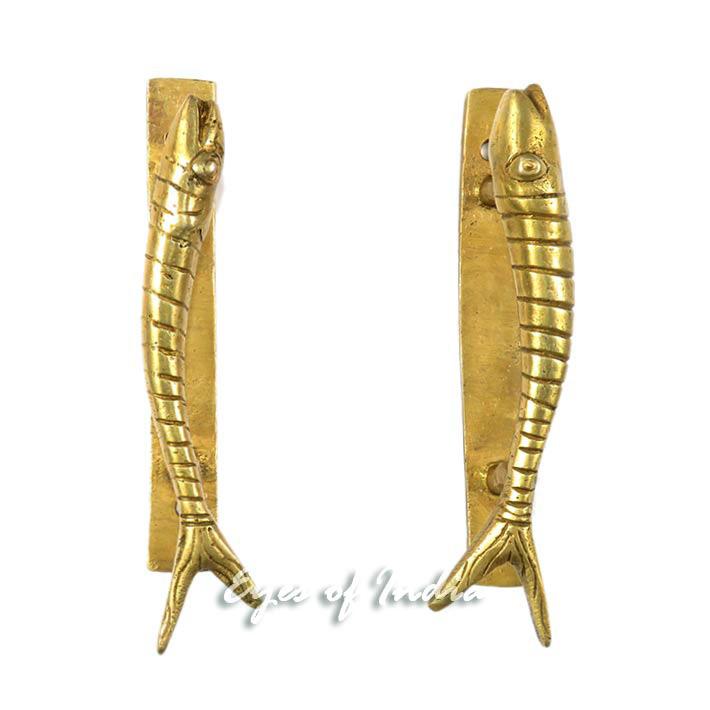 """Pair Brass Fish Cabinet Pulls Antique Bronze Door Handles - 6"""""""