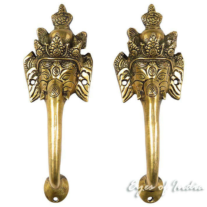 Pair Brass Ganesha Elephant Door Pulls Cabinet Handles Bronze Antique Indian Bohemian Boho - 10""