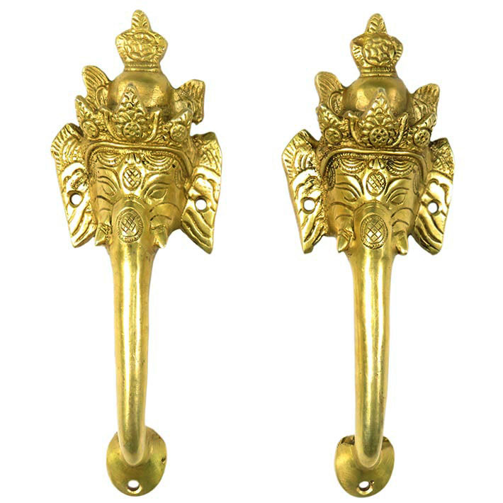 Pair Brass Ganesha Elephant Door Handles Cabinet Pulls Bronze Antique Indian Bohemian Boho - 8""