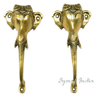 Pair Red Brass Ganesha Elephant Door Pulls Cabinet Handles Bronze Antique Indian Bohemian Boho - 8""