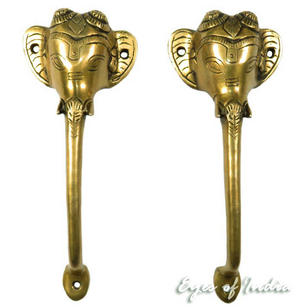 Pair Brass Ganesha Elephant Door Handles Cabinet Pulls Bronze Antique Indian Bohemian Boho - 10""
