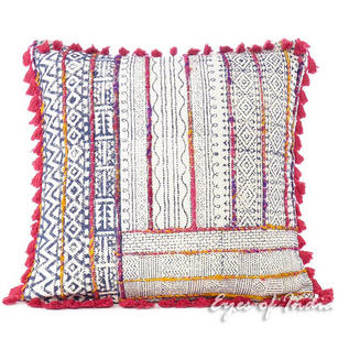 """Colorful Block Print Embroidered Cushion Floor Couch Pillow Sofa Boho Dhurrie Throw Cover - 20"""""""