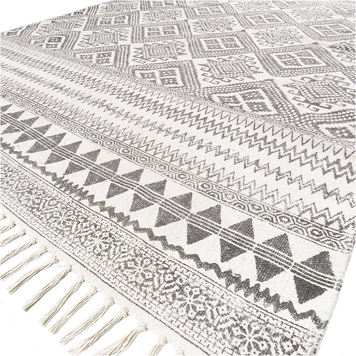 Black White Cotton Block Print Area Accent Boho Dhurrie Rug Flat Weave Boho - 4 X 6 ft
