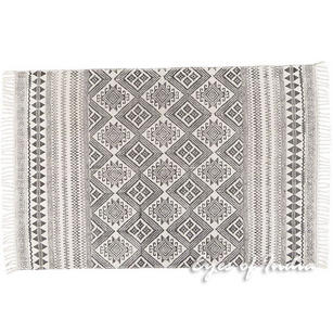 Black White Cotton Block Print Area Accent Dhurrie Rug Flat Weave Woven - 4 X 6 ft