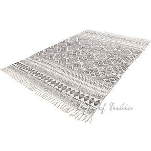 Black White Cotton Block Print Area Accent Boho Dhurrie Rug Flat Weave Boho - 4 X 6 ft