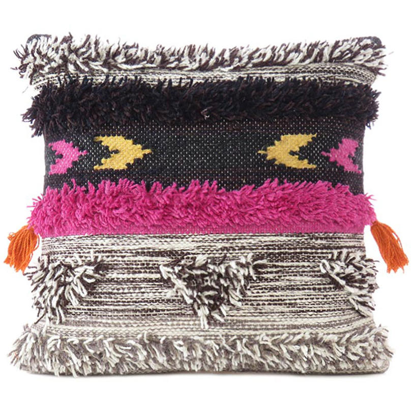 """Gray Pink Colorful Colorful Wool Embroidered Cushion Woven Tufted Fringe Pillow Sofa Throw Cover - 20"""""""