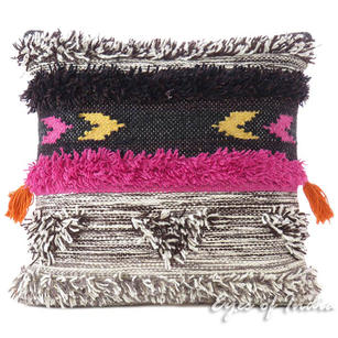 Gray Pink Colorful Tassel Wool Embroidered on Cotton Cushion Woven Tufted Fringe Pillow Sofa Throw Cover - 20""
